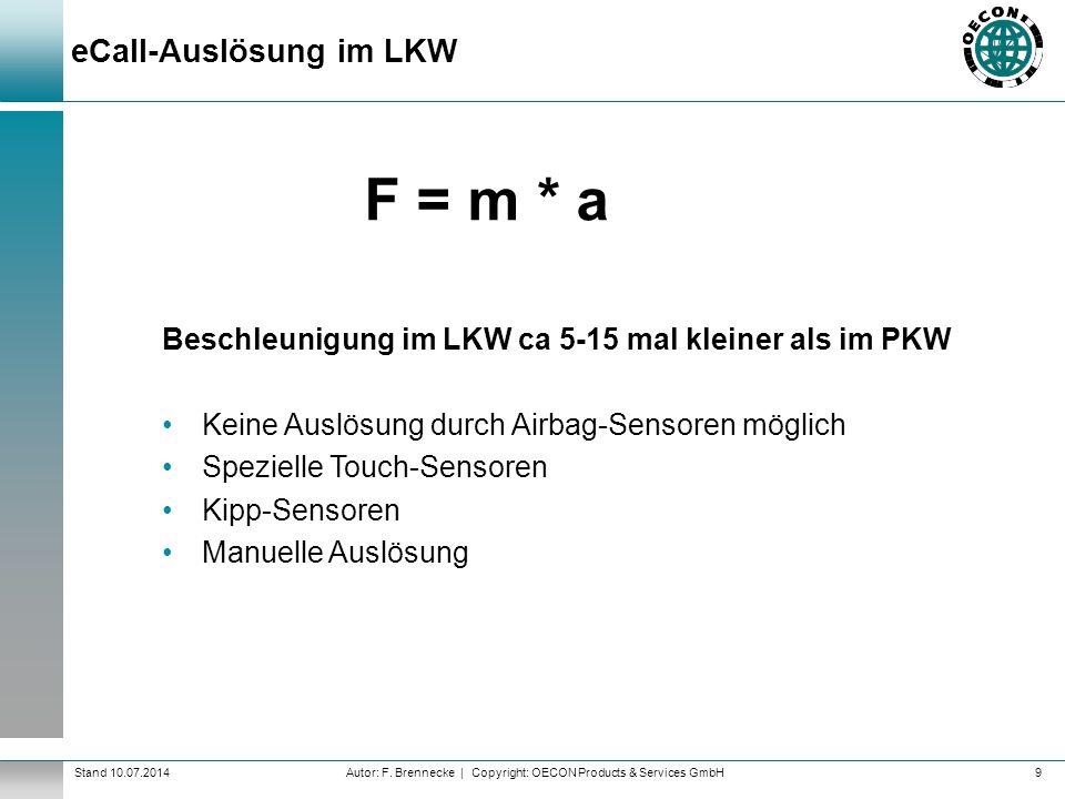 Autor: F. Brennecke | Copyright: OECON Products & Services GmbHStand 10.07.2014 eCall-Auslösung im LKW 9 F = m * a Beschleunigung im LKW ca 5-15 mal k