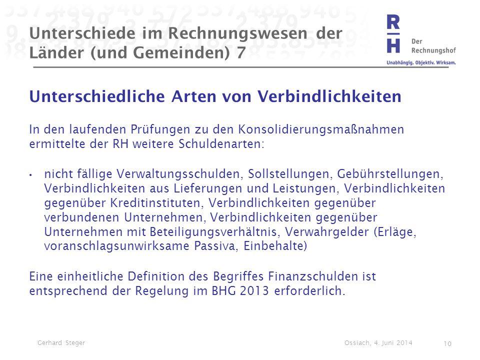Unterschiede im Rechnungswesen der Länder (und Gemeinden) 7 Unterschiedliche Arten von Verbindlichkeiten In den laufenden Prüfungen zu den Konsolidier
