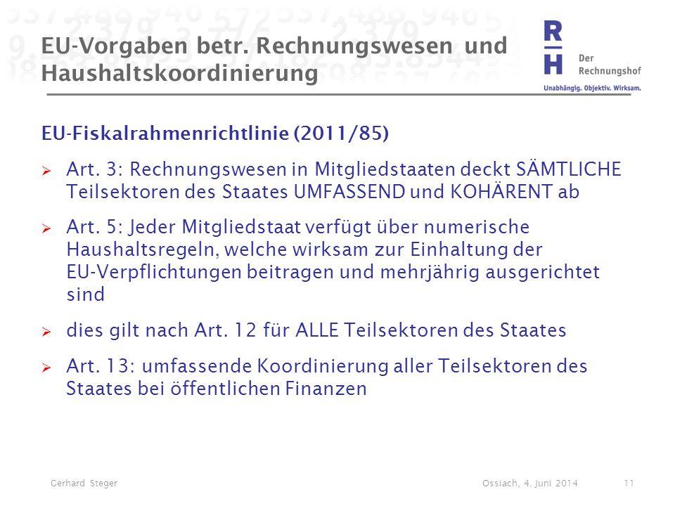 EU-Vorgaben betr. Rechnungswesen und Haushaltskoordinierung EU-Fiskalrahmenrichtlinie (2011/85)  Art. 3: Rechnungswesen in Mitgliedstaaten deckt SÄMT