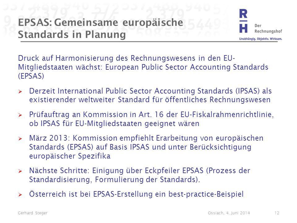 EPSAS: Gemeinsame europäische Standards in Planung Druck auf Harmonisierung des Rechnungswesens in den EU- Mitgliedstaaten wächst: European Public Sec