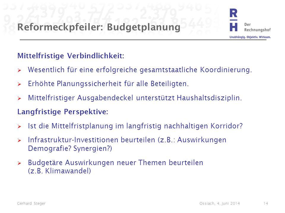 Reformeckpfeiler: Budgetplanung Mittelfristige Verbindlichkeit:  Wesentlich für eine erfolgreiche gesamtstaatliche Koordinierung.  Erhöhte Planungss