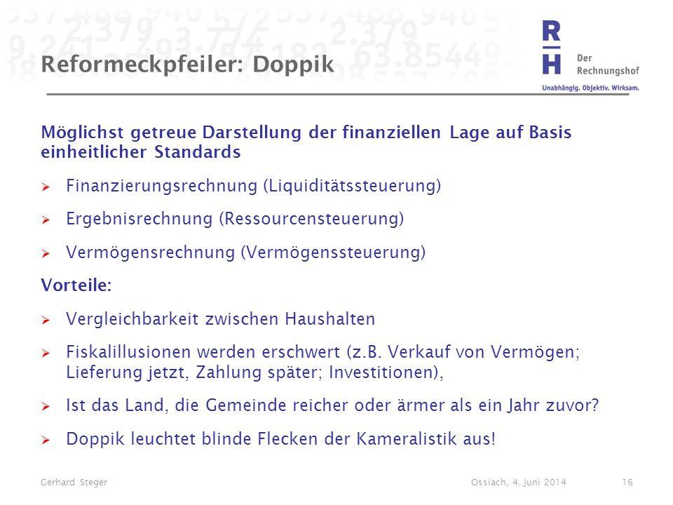 Reformeckpfeiler: Doppik Möglichst getreue Darstellung der finanziellen Lage auf Basis einheitlicher Standards  Finanzierungsrechnung (Liquiditätsste