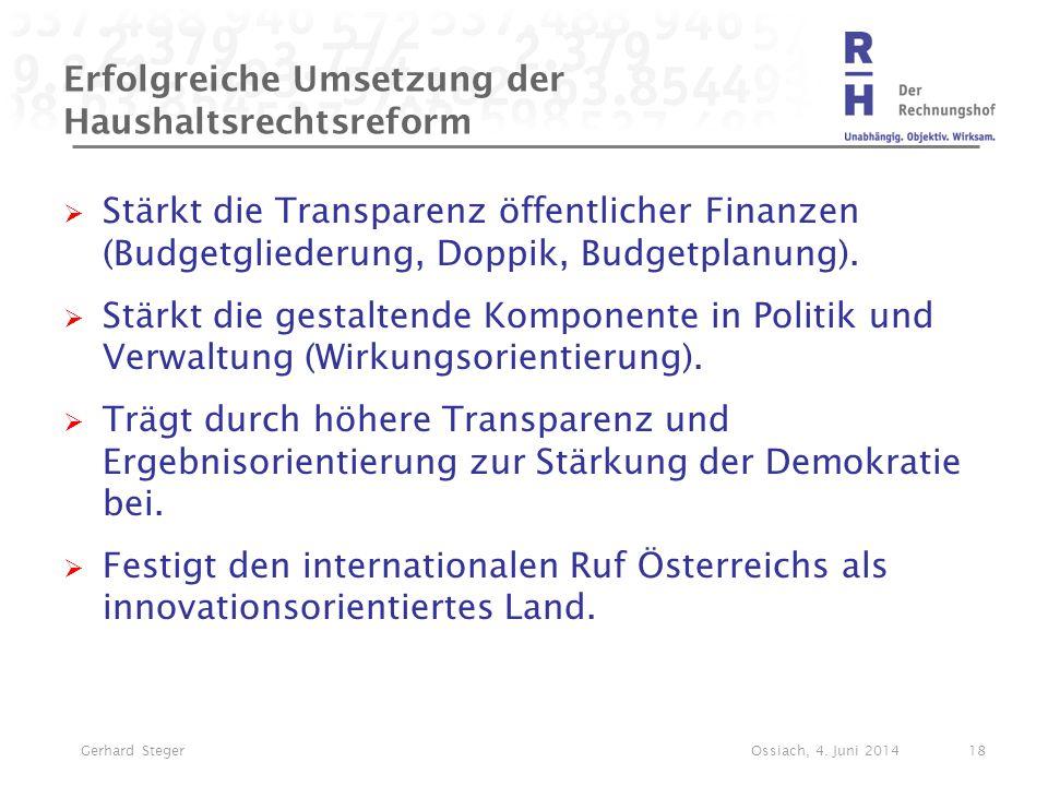Erfolgreiche Umsetzung der Haushaltsrechtsreform  Stärkt die Transparenz öffentlicher Finanzen (Budgetgliederung, Doppik, Budgetplanung).  Stärkt di