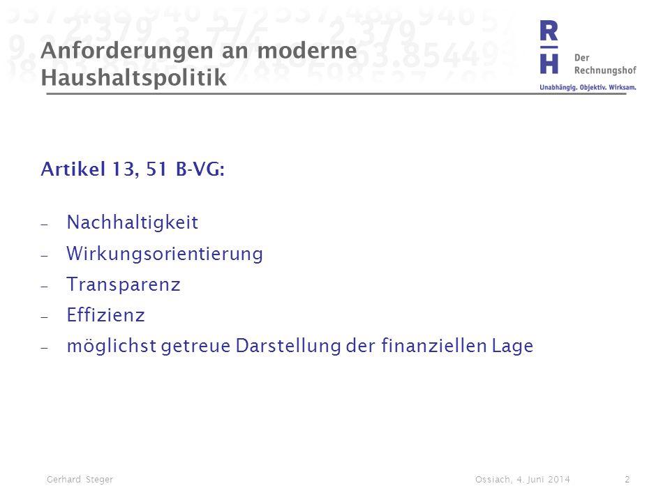 Anforderungen an moderne Haushaltspolitik Artikel 13, 51 B-VG:  Nachhaltigkeit  Wirkungsorientierung  Transparenz  Effizienz  möglichst getreue D