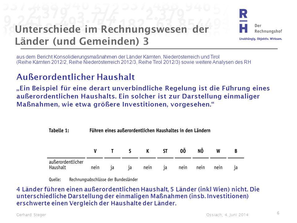 Unterschiede im Rechnungswesen der Länder (und Gemeinden) 3 aus dem Bericht Konsolidierungsmaßnahmen der Länder Kärnten, Niederösterreich und Tirol (R