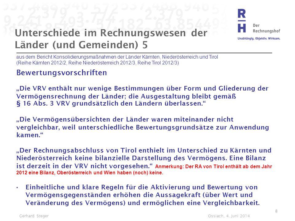 Unterschiede im Rechnungswesen der Länder (und Gemeinden) 5 aus dem Bericht Konsolidierungsmaßnahmen der Länder Kärnten, Niederösterreich und Tirol (R
