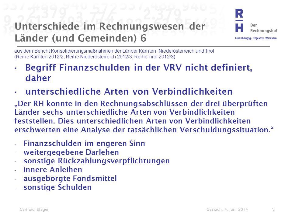 Unterschiede im Rechnungswesen der Länder (und Gemeinden) 6 aus dem Bericht Konsolidierungsmaßnahmen der Länder Kärnten, Niederösterreich und Tirol (R