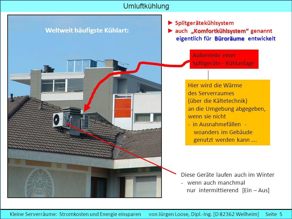 Außenteile einer Splitgeräte - Kühlanlage Hier wird die Wärme des Serverraumes (über die Kältetechnik) an die Umgebung abgegeben, wenn sie nicht - in