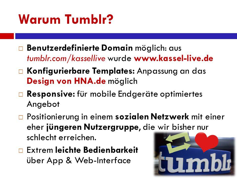 Warum Tumblr?  Benutzerdefinierte Domain möglich: aus tumblr.com/kassellive wurde www.kassel-live.de  Konfigurierbare Templates: Anpassung an das De