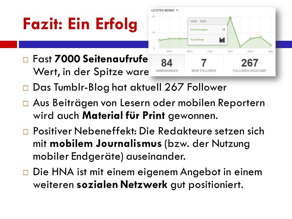 Fazit: Ein Erfolg  Fast 7000 Seitenaufrufe pro Tag sind ein guter Wert, in der Spitze waren es über 21.000.  Das Tumblr-Blog hat aktuell 267 Followe
