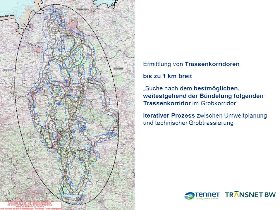 """Ermittlung von Trassenkorridoren bis zu 1 km breit """"Suche nach dem bestmöglichen, weitestgehend der Bündelung folgenden Trassenkorridor im Grobkorridor Iterativer Prozess zwischen Umweltplanung und technischer Grobtrassierung"""