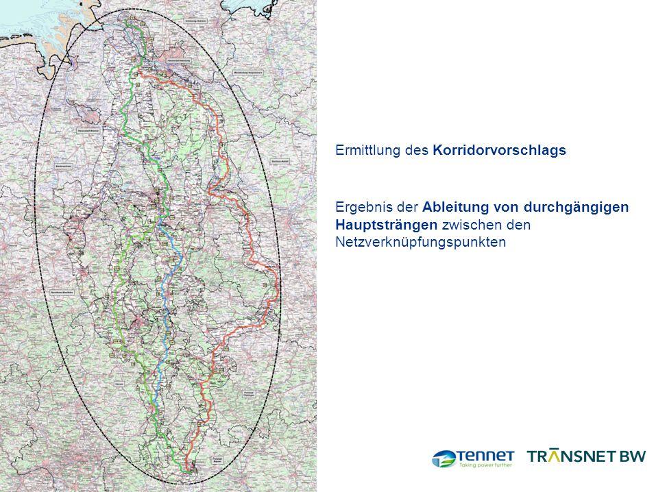 Ermittlung des Korridorvorschlags Ergebnis der Ableitung von durchgängigen Hauptsträngen zwischen den Netzverknüpfungspunkten