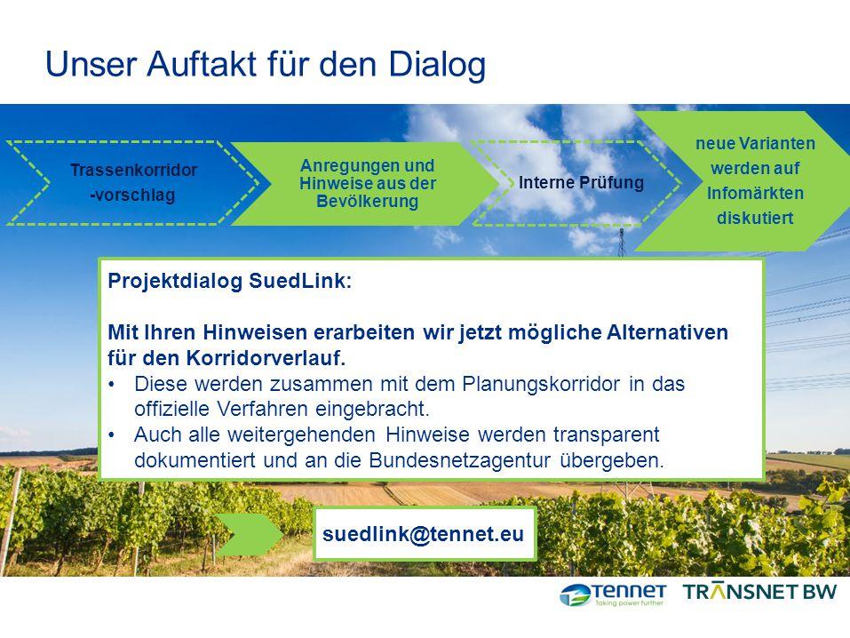 Unser Auftakt für den Dialog Trassenkorridor -vorschlag Anregungen und Hinweise aus der Bevölkerung neue Varianten werden auf Infomärkten diskutiert P