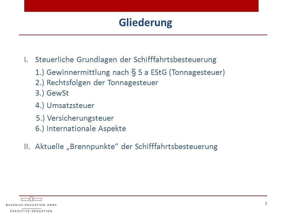 Gliederung 2 I.Steuerliche Grundlagen der Schifffahrtsbesteuerung 1.) Gewinnermittlung nach § 5 a EStG (Tonnagesteuer) 2.) Rechtsfolgen der Tonnageste