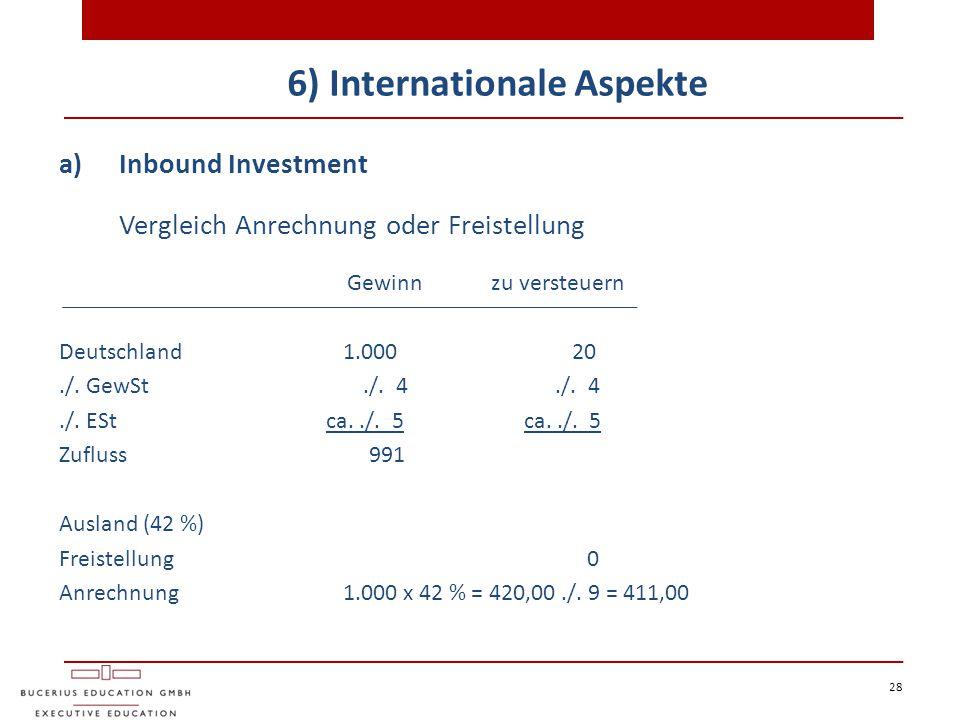 28 6) Internationale Aspekte a)Inbound Investment Vergleich Anrechnung oder Freistellung Gewinnzu versteuern Deutschland 1.000 20./. GewSt./. 4./. 4./