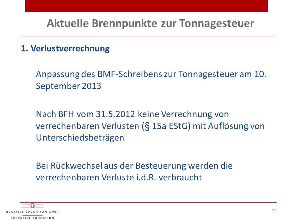 Aktuelle Brennpunkte zur Tonnagesteuer 35 1. Verlustverrechnung Anpassung des BMF-Schreibens zur Tonnagesteuer am 10. September 2013 Nach BFH vom 31.5