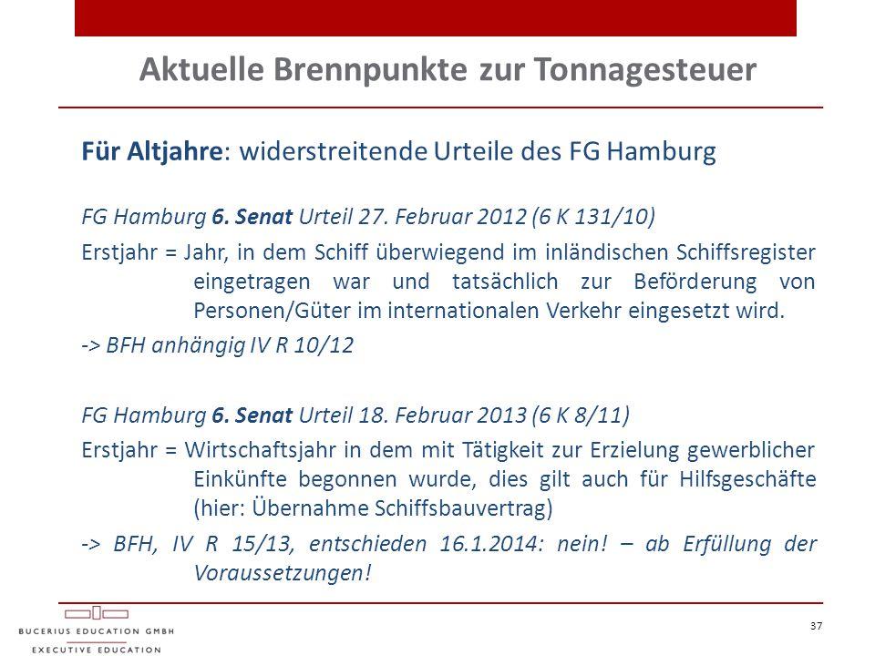 Aktuelle Brennpunkte zur Tonnagesteuer 37 Für Altjahre: widerstreitende Urteile des FG Hamburg FG Hamburg 6. Senat Urteil 27. Februar 2012 (6 K 131/10