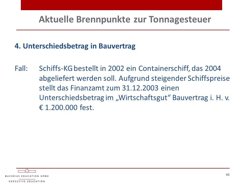 Aktuelle Brennpunkte zur Tonnagesteuer 40 4. Unterschiedsbetrag in Bauvertrag Fall:Schiffs-KG bestellt in 2002 ein Containerschiff, das 2004 abgeliefe