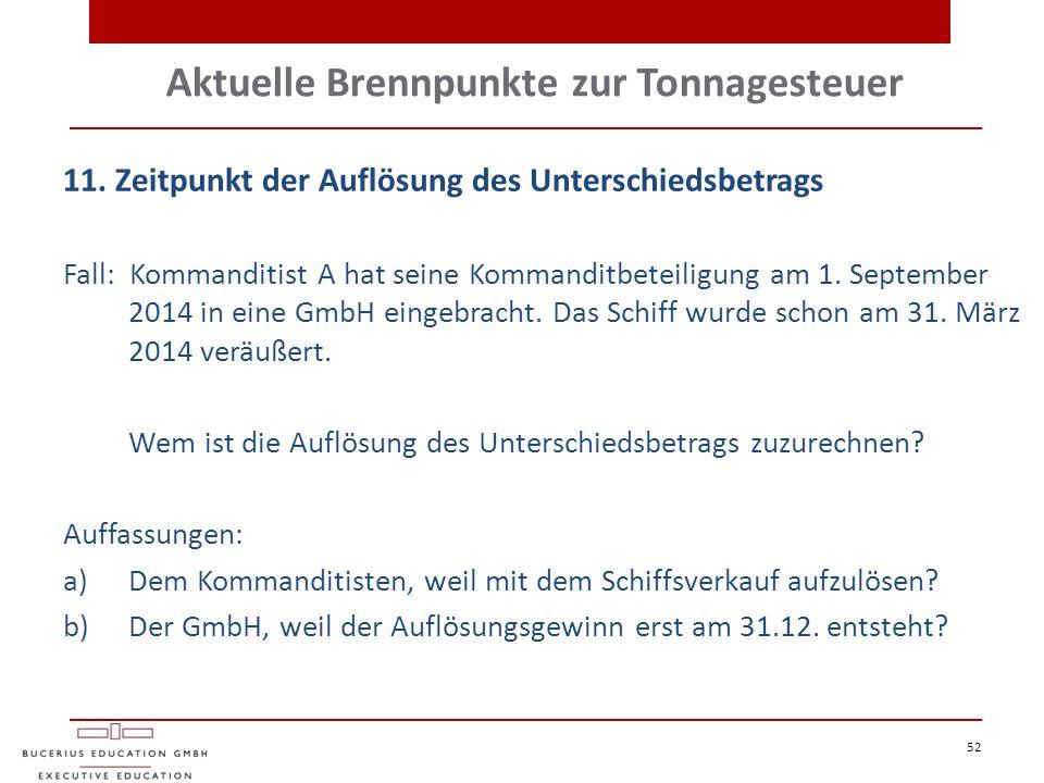 Aktuelle Brennpunkte zur Tonnagesteuer 52 11. Zeitpunkt der Auflösung des Unterschiedsbetrags Fall: Kommanditist A hat seine Kommanditbeteiligung am 1