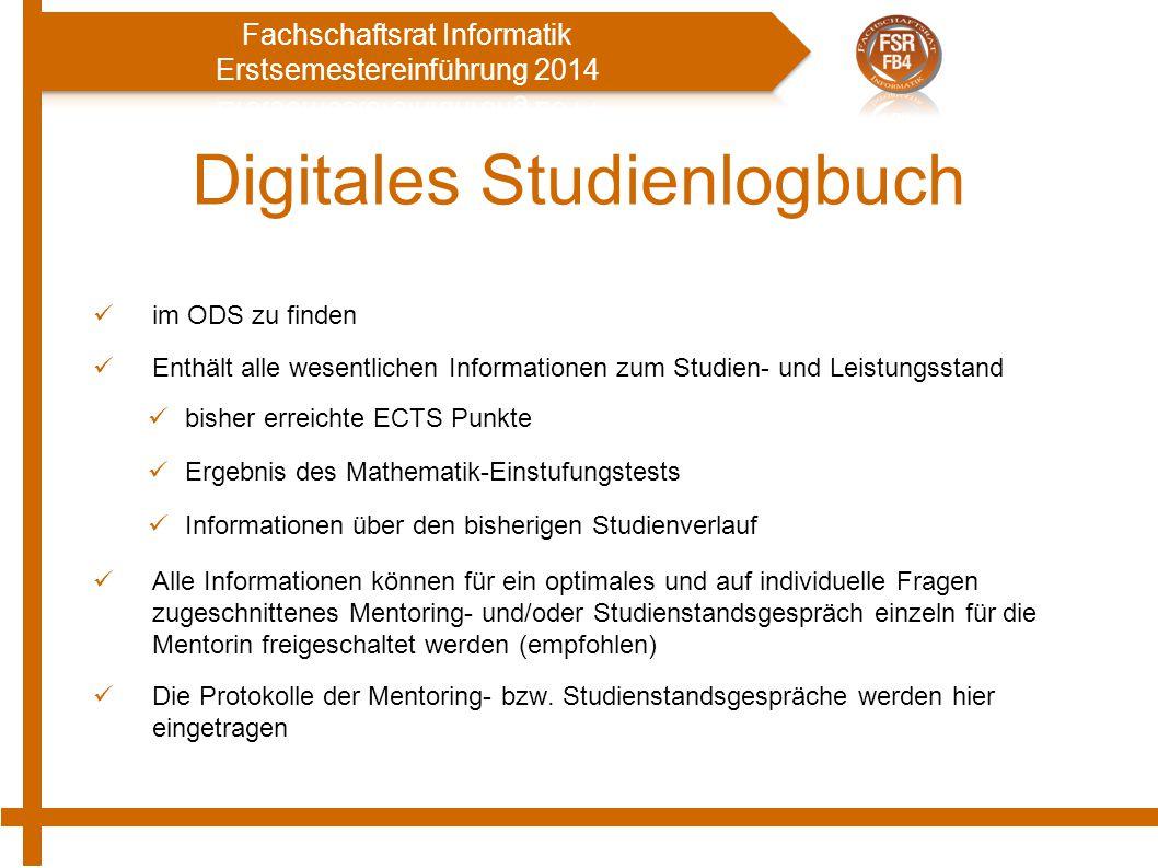 Digitales Studienlogbuch im ODS zu finden Enthält alle wesentlichen Informationen zum Studien- und Leistungsstand bisher erreichte ECTS Punkte Ergebni