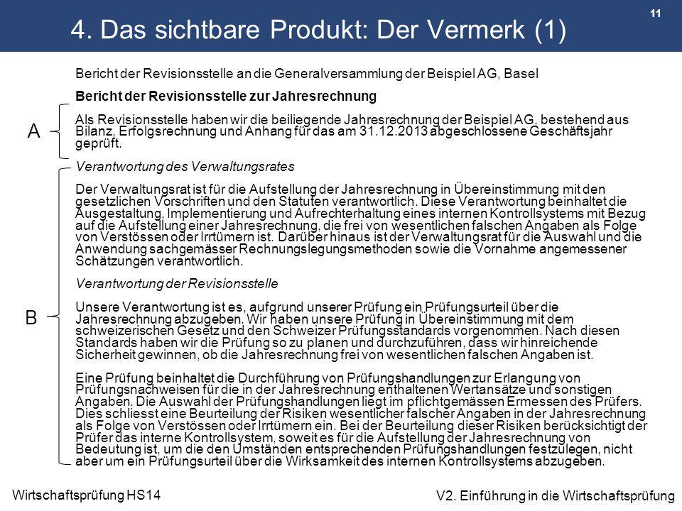 11 Wirtschaftsprüfung HS14 V2. Einführung in die Wirtschaftsprüfung 4. Das sichtbare Produkt: Der Vermerk (1) Bericht der Revisionsstelle an die Gener