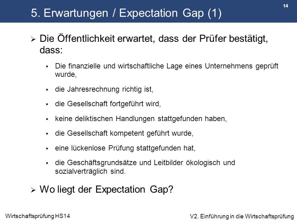 14 Wirtschaftsprüfung HS14 V2. Einführung in die Wirtschaftsprüfung 5. Erwartungen / Expectation Gap (1)  Die Öffentlichkeit erwartet, dass der Prüfe