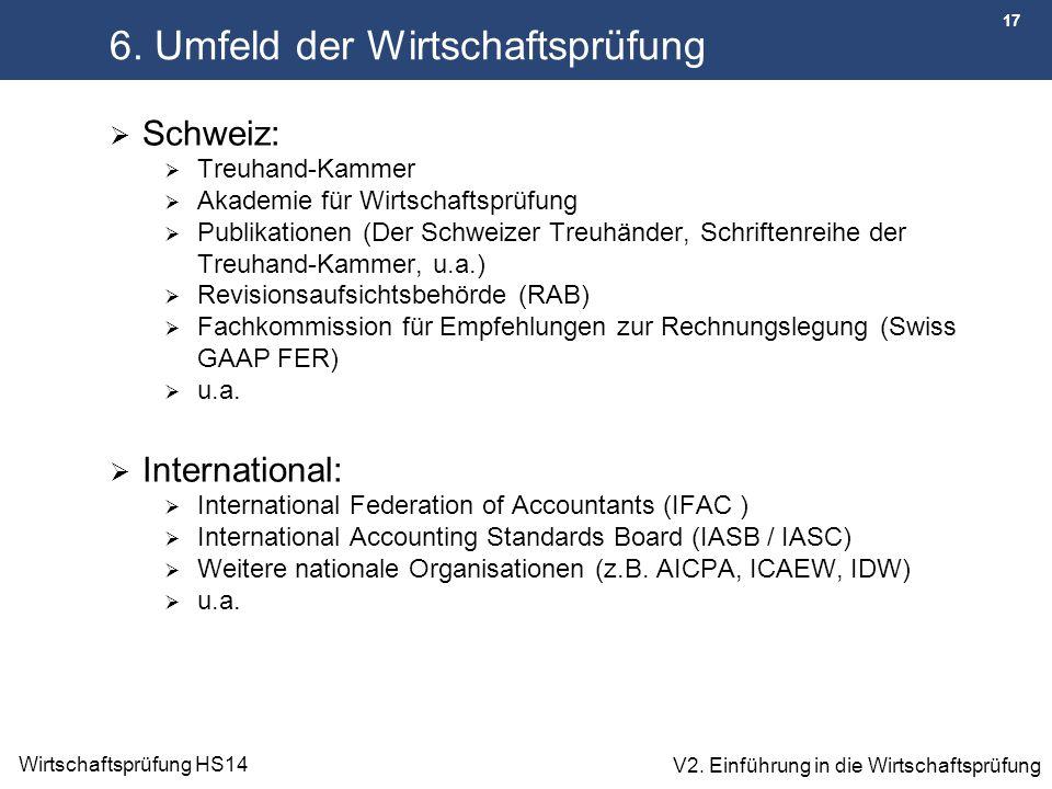 17 Wirtschaftsprüfung HS14 V2. Einführung in die Wirtschaftsprüfung 6. Umfeld der Wirtschaftsprüfung  Schweiz:  Treuhand-Kammer  Akademie für Wirts