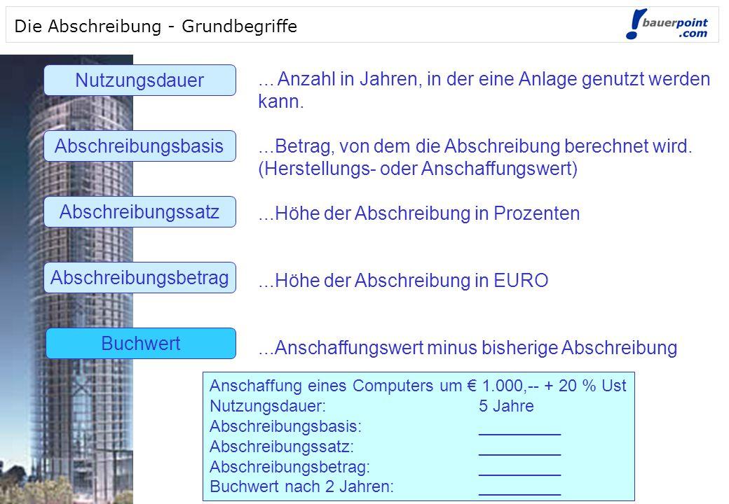 © bauerpoint.com © bauerpoint.com Die Abschreibung - Grundbegriffe Nutzungsdauer Abschreibungsbasis Abschreibungssatz Abschreibungsbetrag Buchwert...