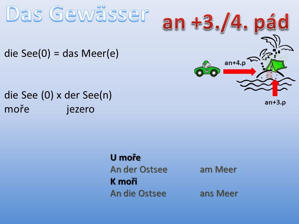 an+4.p an+3.p die See(0) = das Meer(e) die See (0) x der See(n) moře jezero U moře An der Ostseeam Meer K moři An die Ostseeans Meer