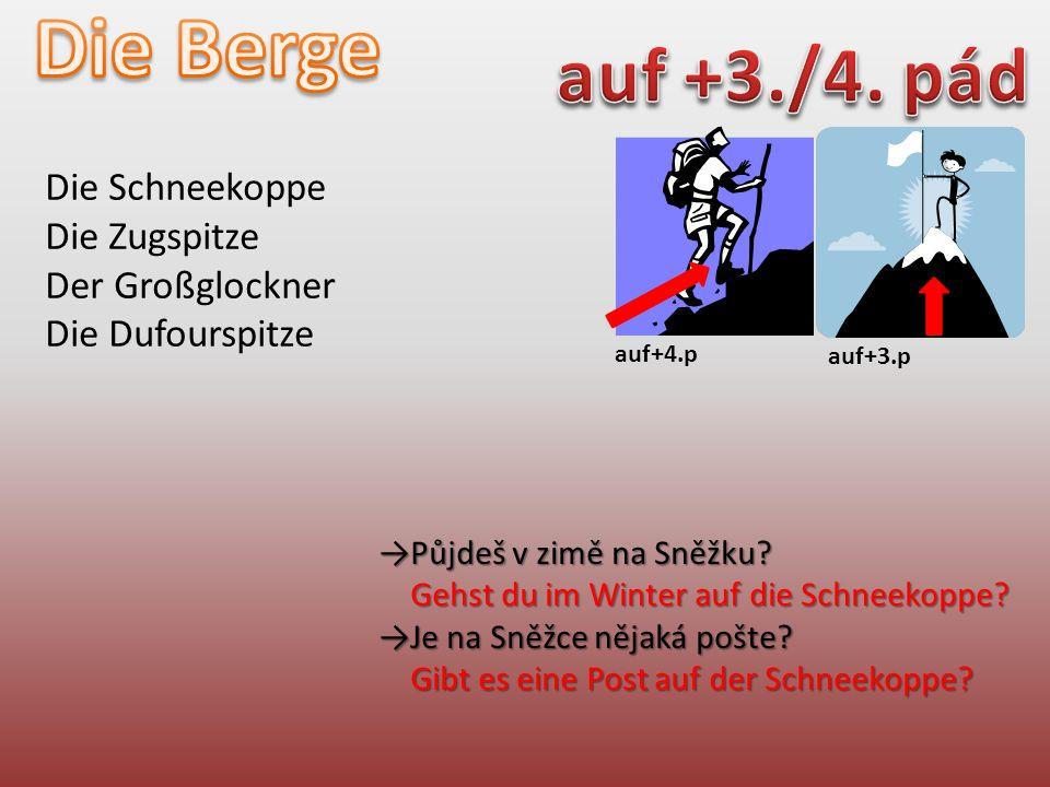 auf+4.p auf+3.p Die Schneekoppe Die Zugspitze Der Großglockner Die Dufourspitze →Půjdeš v zimě na Sněžku.