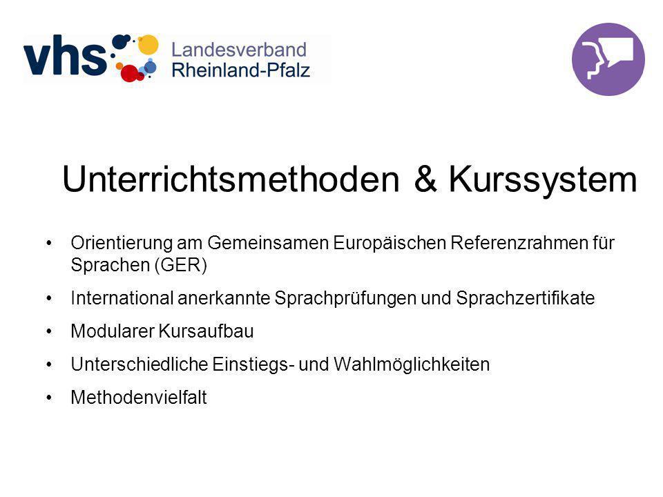 Unterrichtsmethoden & Kurssystem Orientierung am Gemeinsamen Europäischen Referenzrahmen für Sprachen (GER) International anerkannte Sprachprüfungen und Sprachzertifikate Modularer Kursaufbau Unterschiedliche Einstiegs- und Wahlmöglichkeiten Methodenvielfalt