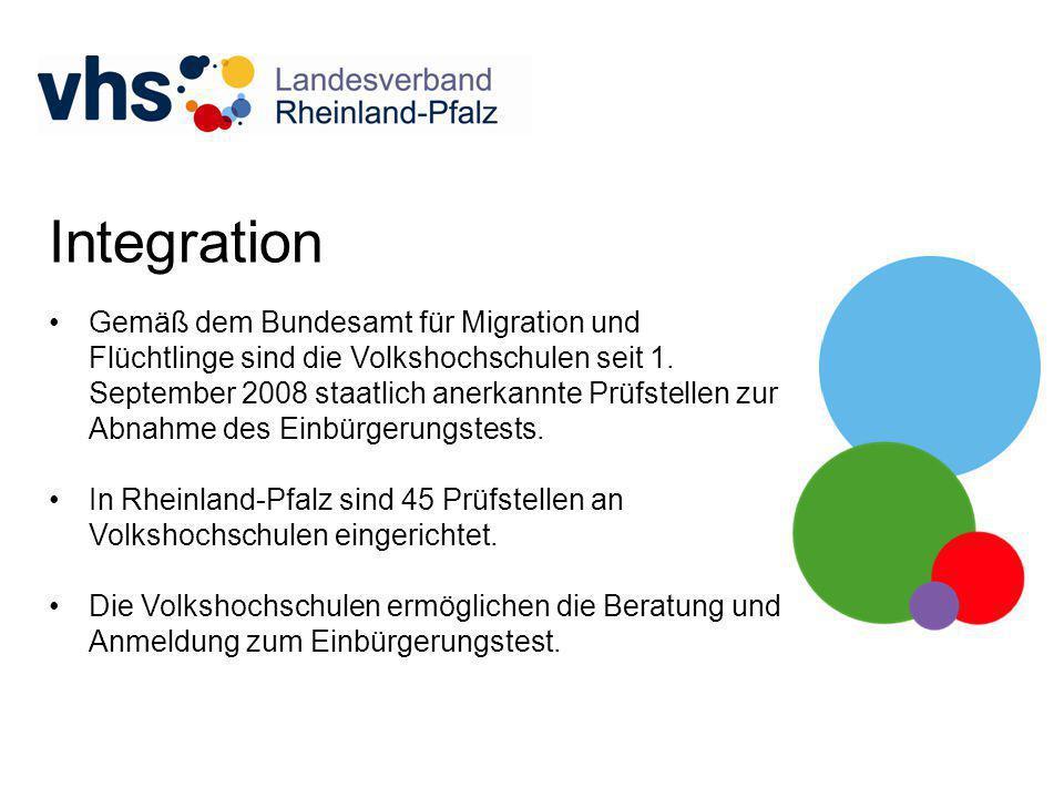 Integration Gemäß dem Bundesamt für Migration und Flüchtlinge sind die Volkshochschulen seit 1. September 2008 staatlich anerkannte Prüfstellen zur Ab