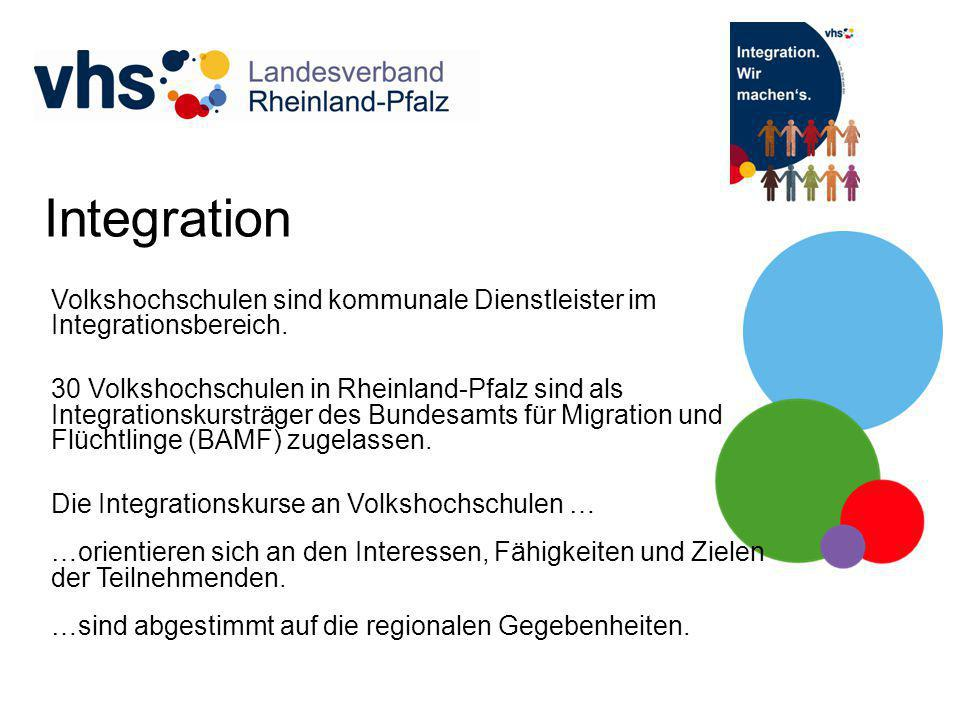 Integration Volkshochschulen sind kommunale Dienstleister im Integrationsbereich. 30 Volkshochschulen in Rheinland-Pfalz sind als Integrationskursträg