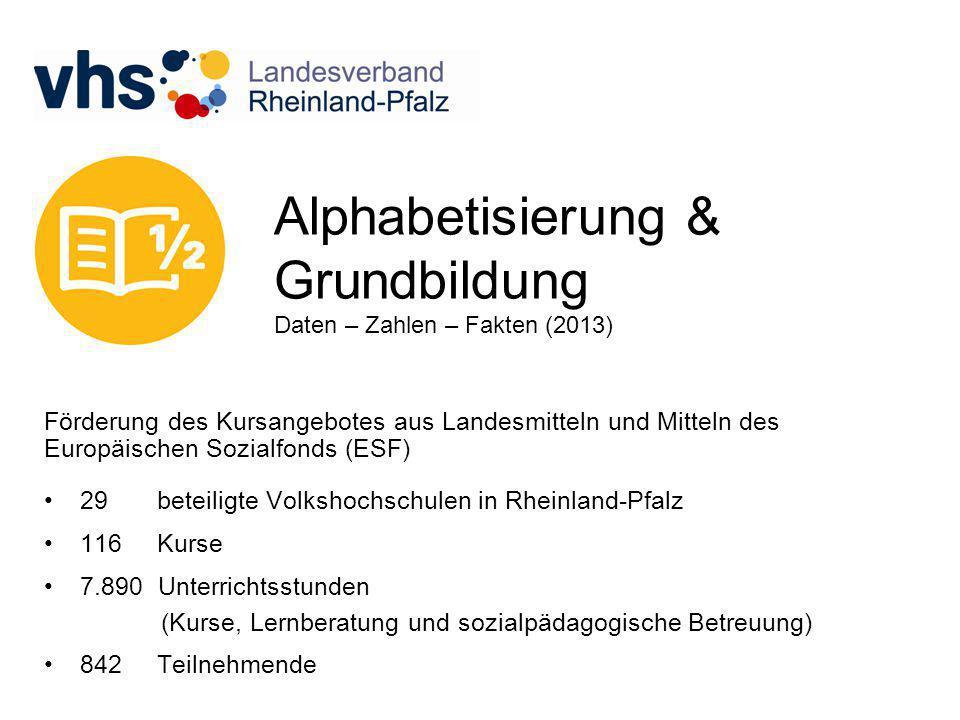 Alphabetisierung & Grundbildung Daten – Zahlen – Fakten (2013) Förderung des Kursangebotes aus Landesmitteln und Mitteln des Europäischen Sozialfonds