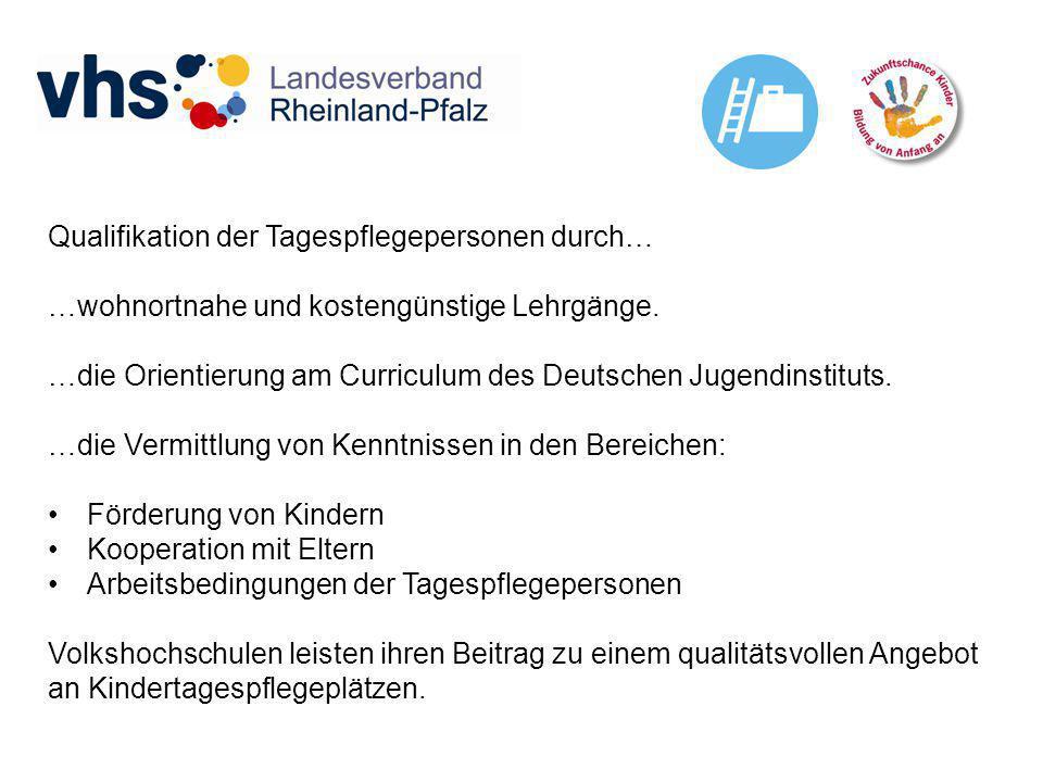 Qualifikation der Tagespflegepersonen durch… …wohnortnahe und kostengünstige Lehrgänge. …die Orientierung am Curriculum des Deutschen Jugendinstituts.