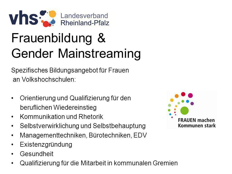 Frauenbildung & Gender Mainstreaming Spezifisches Bildungsangebot für Frauen an Volkshochschulen: Orientierung und Qualifizierung für den beruflichen