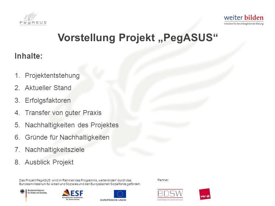 """Das Projekt PegASUS wird im Rahmen des Programms """"weiter bilden durch das Bundesministerium für Arbeit und Soziales und den Europäischen Sozialfonds gefördert."""