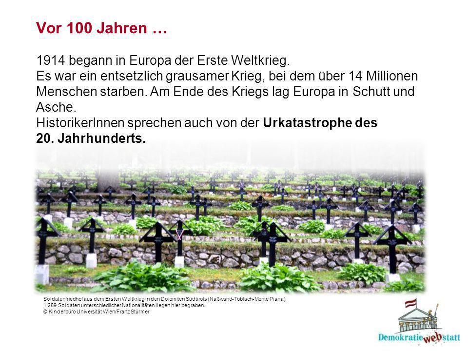 Vor 100 Jahren … 1914 begann in Europa der Erste Weltkrieg.
