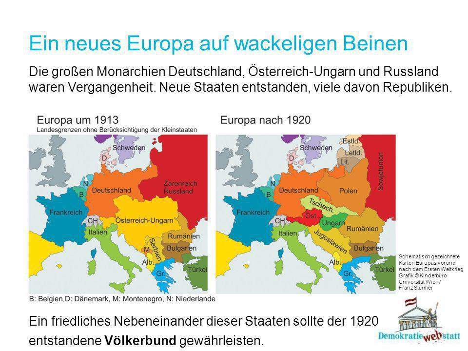 Ein neues Europa auf wackeligen Beinen Die großen Monarchien Deutschland, Österreich-Ungarn und Russland waren Vergangenheit.