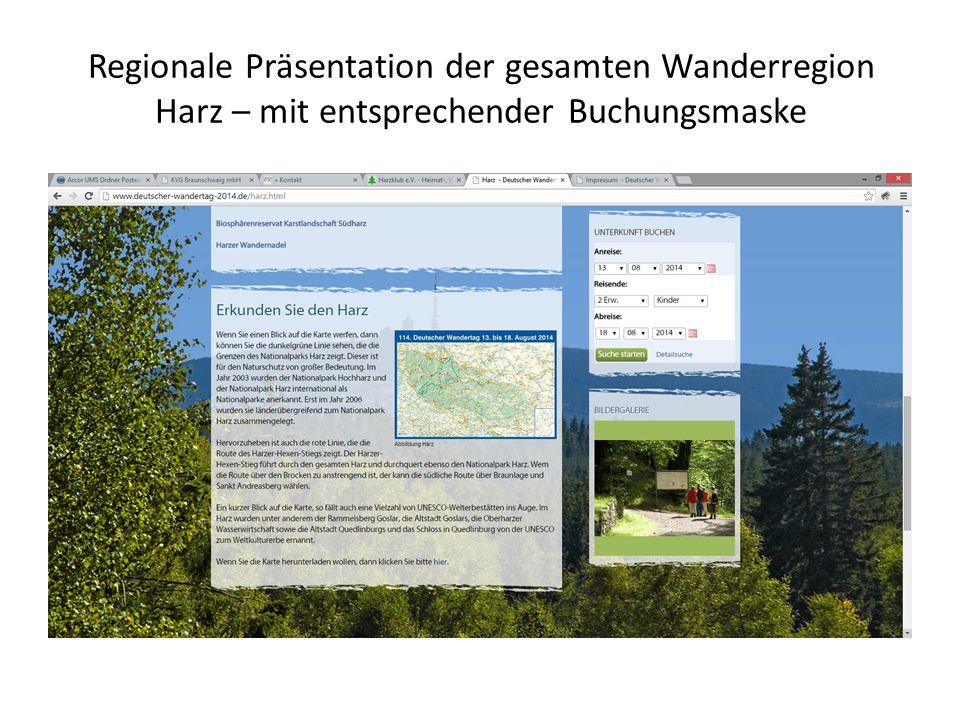 Regionale Präsentation der gesamten Wanderregion Harz – mit entsprechender Buchungsmaske