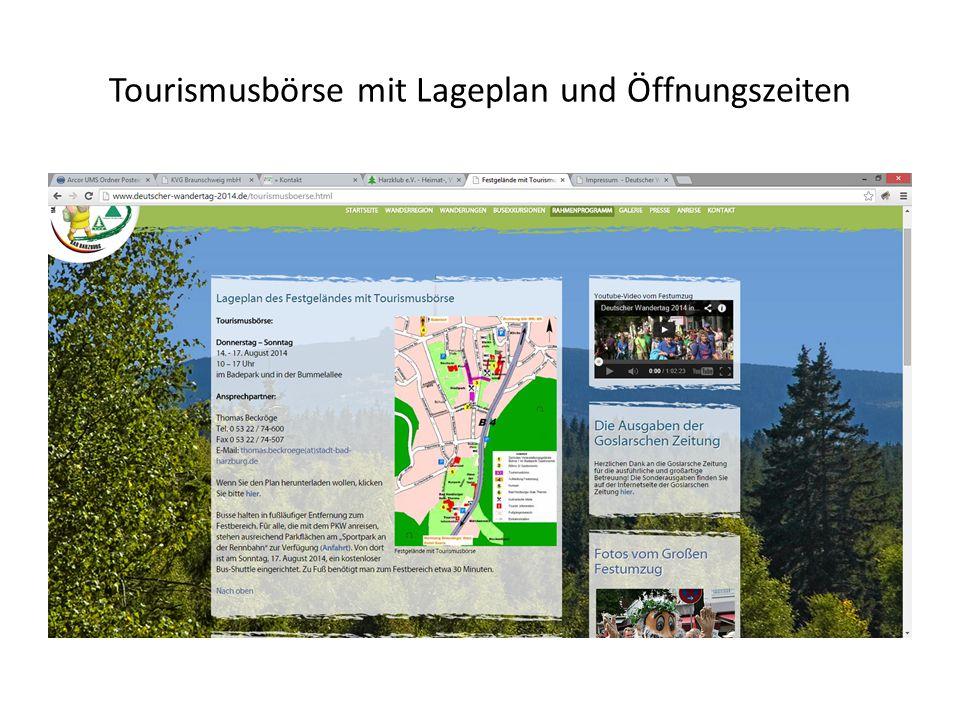 Tourismusbörse mit Lageplan und Öffnungszeiten