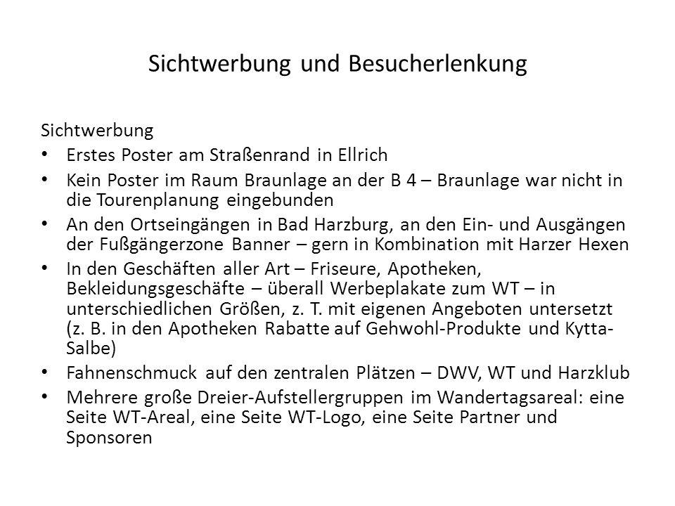 Sichtwerbung und Besucherlenkung Sichtwerbung Erstes Poster am Straßenrand in Ellrich Kein Poster im Raum Braunlage an der B 4 – Braunlage war nicht in die Tourenplanung eingebunden An den Ortseingängen in Bad Harzburg, an den Ein- und Ausgängen der Fußgängerzone Banner – gern in Kombination mit Harzer Hexen In den Geschäften aller Art – Friseure, Apotheken, Bekleidungsgeschäfte – überall Werbeplakate zum WT – in unterschiedlichen Größen, z.