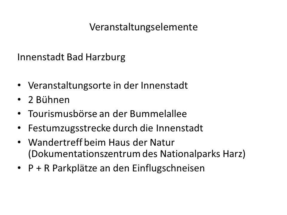 Veranstaltungselemente Innenstadt Bad Harzburg Veranstaltungsorte in der Innenstadt 2 Bühnen Tourismusbörse an der Bummelallee Festumzugsstrecke durch die Innenstadt Wandertreff beim Haus der Natur (Dokumentationszentrum des Nationalparks Harz) P + R Parkplätze an den Einflugschneisen