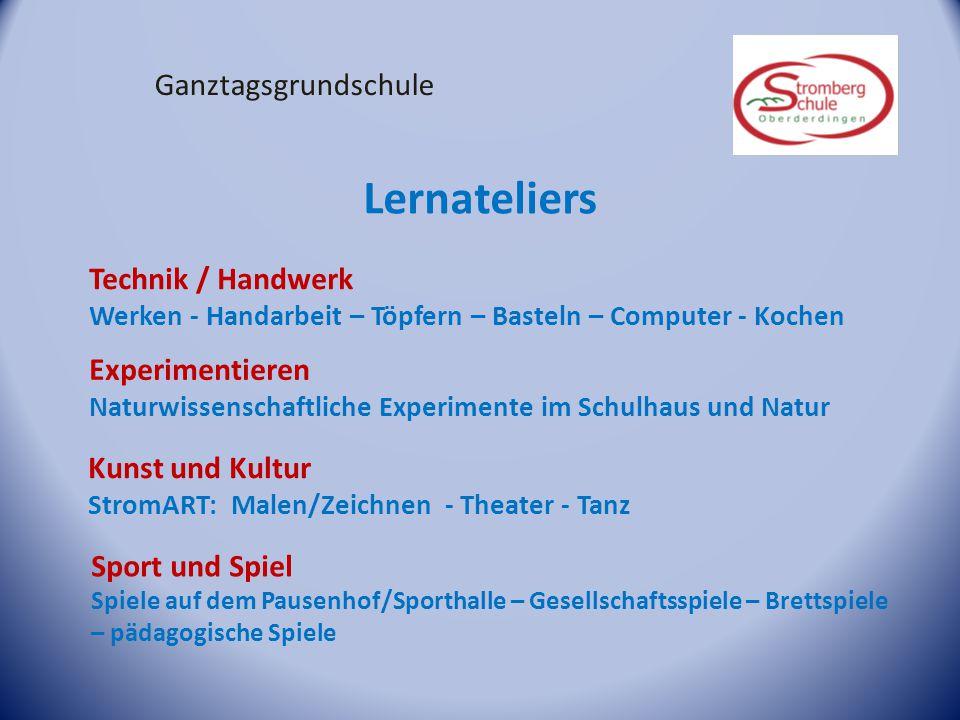 Ganztagsgrundschule Lernateliers Technik / Handwerk Werken - Handarbeit – Töpfern – Basteln – Computer - Kochen Experimentieren Naturwissenschaftliche