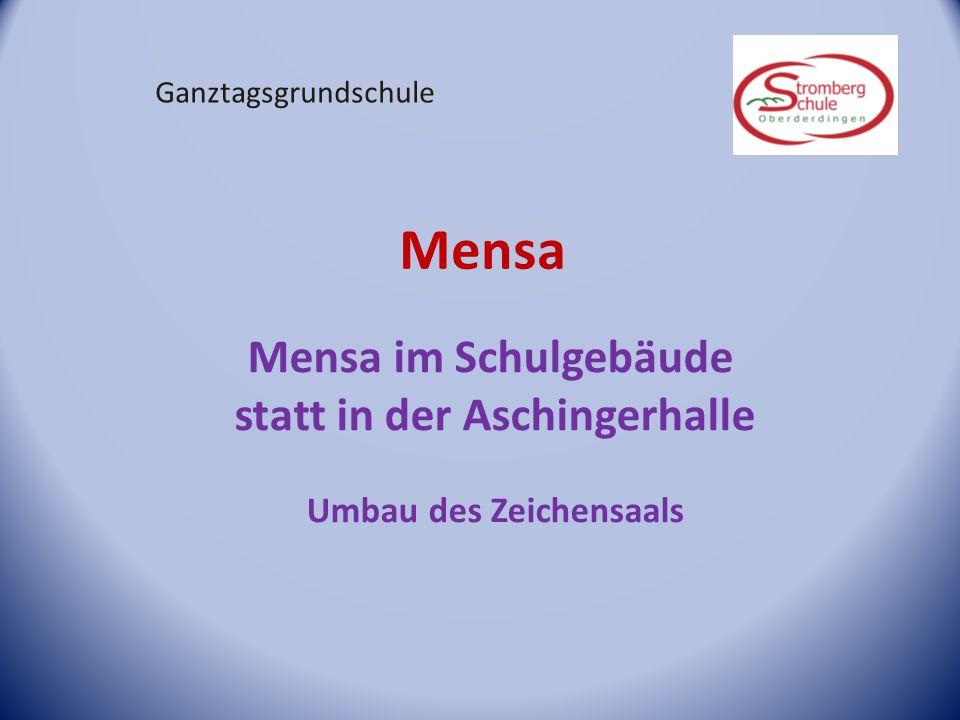 Mensa Mensa im Schulgebäude statt in der Aschingerhalle Umbau des Zeichensaals