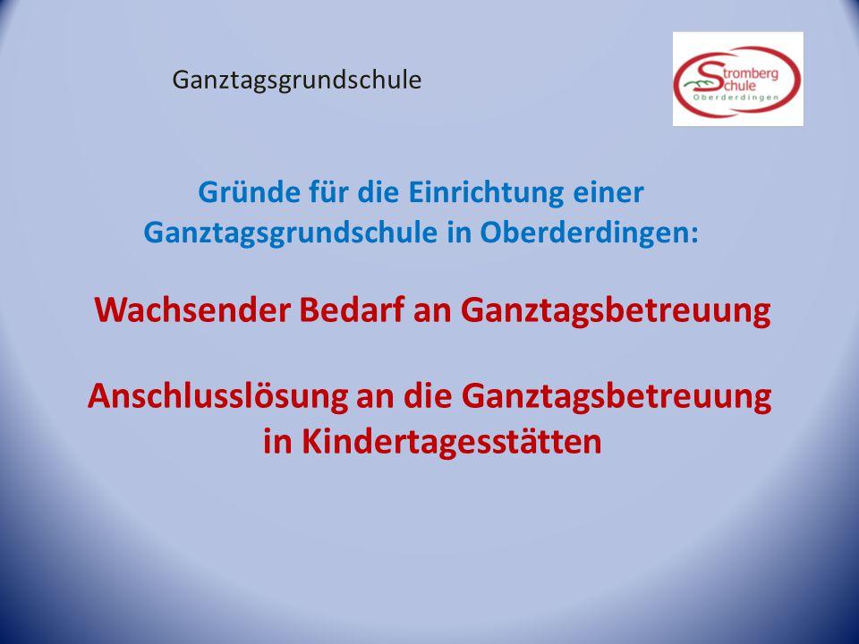 Ganztagsgrundschule Gründe für die Einrichtung einer Ganztagsgrundschule in Oberderdingen: Wachsender Bedarf an Ganztagsbetreuung Anschlusslösung an d