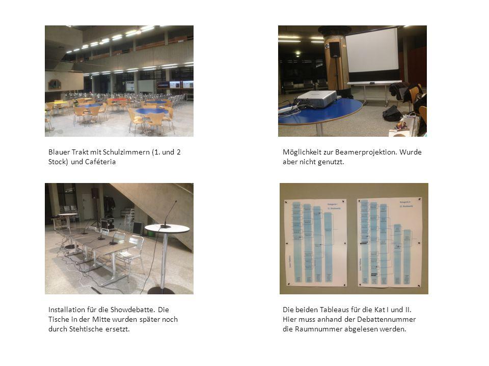Blauer Trakt mit Schulzimmern (1.und 2 Stock) und Caféteria Möglichkeit zur Beamerprojektion.