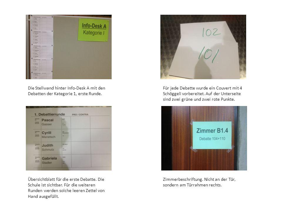 Die Stellwand hinter Info-Desk A mit den Debatten der Kategorie 1, erste Runde.