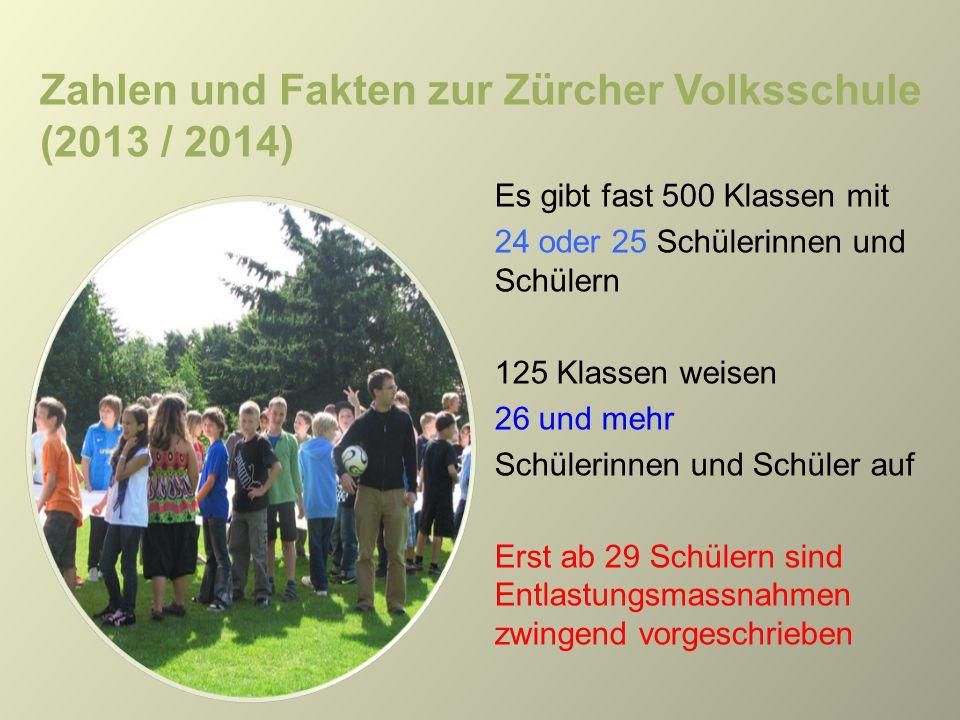 Zahlen und Fakten zur Zürcher Volksschule (2013 / 2014) Es gibt fast 500 Klassen mit 24 oder 25 Schülerinnen und Schülern 125 Klassen weisen 26 und me