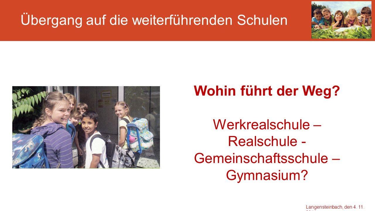 Übergang auf die weiterführenden Schulen Wohin führt der Weg? Werkrealschule – Realschule - Gemeinschaftsschule – Gymnasium? Langensteinbach, den 4. 1